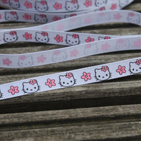 "5 Yards of Hello Kitty Ribbon 3/8"" wide for card making,hair bows,scrapbooks,gift wrap"