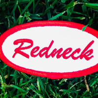 REDNECK Iron on or Sew on Patch Vintage Name Patches Name Tag Redneck Novelty Embroidered Iron On Badge Applique Patch