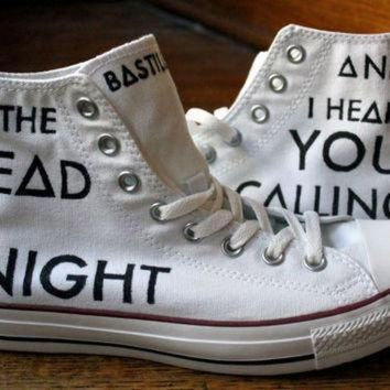 QIYIF music lyric shoes custom converse hi tops handmade sneakers song tennis shoes