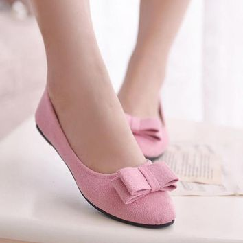 women shoes casual black office lady cute bow tie pointed tow flat shoes female cute spring & summer slip on shoes 2018 New Gift