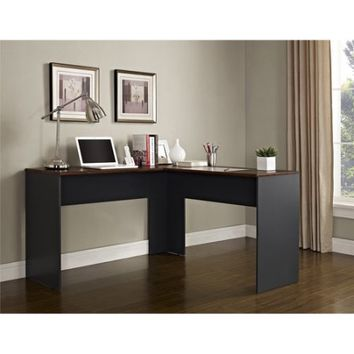 Ameriwood Home The Works L-Shaped Desk, Cherry/Gray - Walmart.com