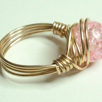 Pink Crackle and Gold Wire Wrapped Ring