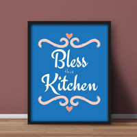 Kitchen Printable Wall Art 'Bless this Kitchen' Home decor for dining, blue and pink, downloadable print pink hearts, gift for mom