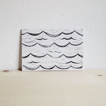 Linocut Waves on Canvas, Small Hand Printed Art, Black and White, Limited Edition