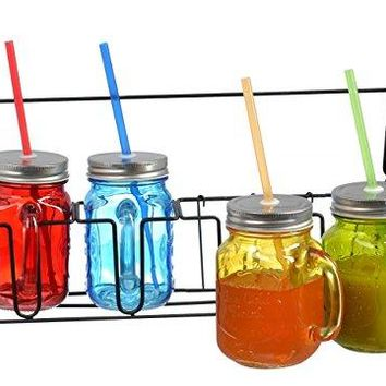Mason Jars With Lids And Straws Set Of 4 Glass 16oz Mugs with Handles in Caddy Holder with Handle Home and Party Drinkware Set Blue Red Green Yellow Gingham Lids