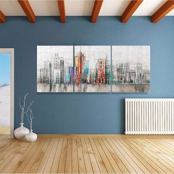 3-Piece Abstract City Skyline Canvas Painting
