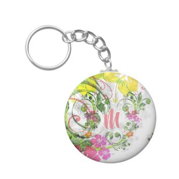 Tropical hibiscus monogram keychain