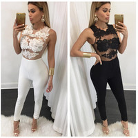 Sexy Fashion Lace stitching Jumpsuit Women Clothes 2016 New Long Sleeveless back zipper Women Boysuits Hollow Out Lace Jumpsuit
