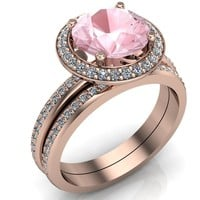 Portia 8mm AAA Natural Cushion Morganite Diamond Collar and Shoulders Design 14k Rose Gold Ring with Option of Matching Wedding Band