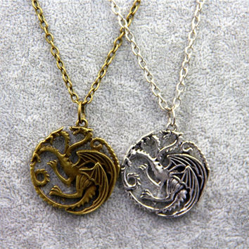Fashion Jewelry Vintage Charm Song Of Ice And Fire Game Of Thrones Targaryen Dragon Badge Necklace