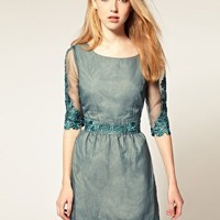 Darling | Darling Embellished Lace Trim 50's Dress at ASOS