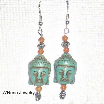 "Buddha Earrings Howlite, Carnelian And Quartzite"" Enlightenment"""