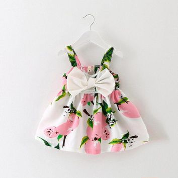 US Baby Girls Bow Floral Princess Dress Toddler Kids Wedding Party Sundress 0-3Y