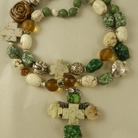Chunky Cross Turquoise Double Strand Necklace Handmade Green Tan on Handmade Artists' Shop