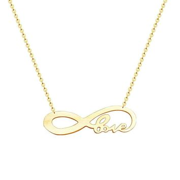 Romantic Gold Color Chain Love Necklace Women Valentine Day Gift Stainless Steel Infinity Pendant Minimalist Jewelry 2018