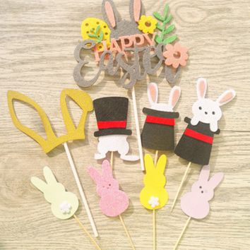 Easter cake decoration insert easter bunny ears magic hat rabbit dessert table card flag