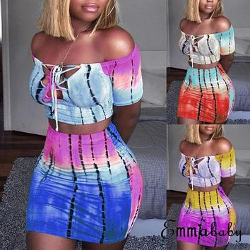 Sexy Women 2 Piece Set Bodycon Skirt Set Casual Clubwear Party Crop Top Wrap Skirts For Women Slash Neck Female Bandage Clothing