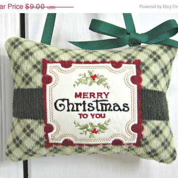 Christmas In July Sale Christmas Door Hanger Pillow Green Red Plaid Repurposed Decorative