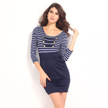 Sexy Ladies Striped Round-neck Skinny Stripes One Piece Dress = 4804170692