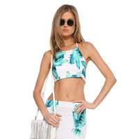 Blue Feather Print Halter Cropped Top