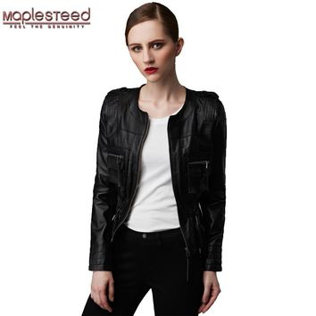 MAPLESTEED Genuine Sheepskin Leather Jacket Women Fashion Pockets Black Red Slim Bomber Motorcycle Biker Coat Ladies Jaqueta 164