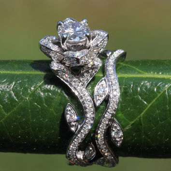 Platinum - BLOOMING Work Of Art - Flower Leaf Rose Lotus Diamond Engagement Wedding Ring Set - No Milgrain - brides - fL07 - Patented design