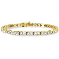 10 Carats Diamond 14k Yellow Gold Tennis Bracelet: Bracelet