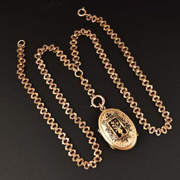 Antique Victorian Enamel Rose Gold Locket Necklace