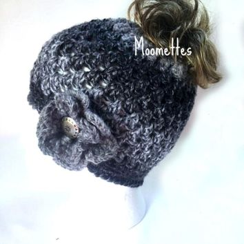 Handmade Messy Bun Hat Ponytail Nordic Beanie Black Grey Gray Pewter Button Crochet Flower