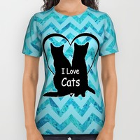 I Love Cats Silhouette All Over Print Shirt by Cat Attack