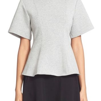 T by Alexander Wang Double Knit Pleated Crewneck Top | Nordstrom