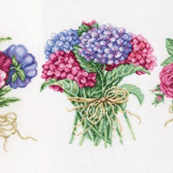 "Modern cross Stitch KITs ""Flowers"". (Counted cross stitching, Embroidery pattern), bunch of violets, hydrangeas, roses, pink, green, purple"
