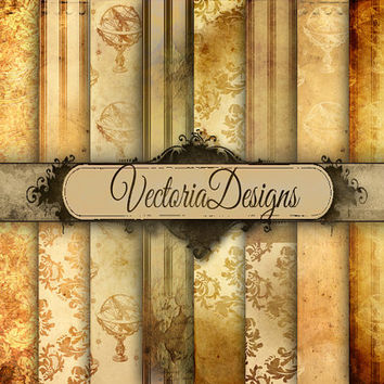 Grunge Steampunk Digital Paper 8.5 x 11 inch paper pack digital paper printable digital collage sheet VD0533