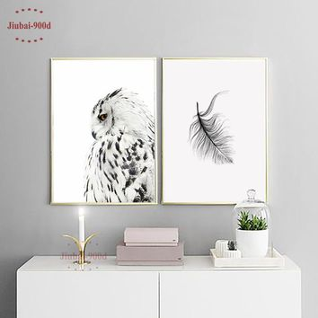900D Posters And Prints Wall Art Canvas Painting Wall Pictures For Living Room Nordic Owl Decoration Home Decor NOR026