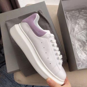 Alexander Mcqueen's world-class classic leather casual shoes watermelon purple  scrub