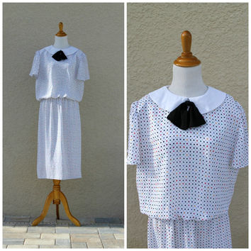 Vintage 70s Secretary Dress With Black Bow Peter Pan Collar // Geometric Polka Dot Dress By Joy Gordon// Sheer Midi Dress//Large Day Dress