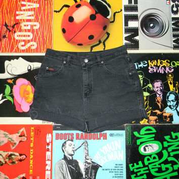 Vintage Denim Shorts, 80s LEE High Waisted Stone Washed Black Jean Cut Offs - Cut Off, Frayed, Rolled Up, Size 8 10 M Medium, ooak