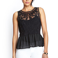 FOREVER 21 Embroidered Mesh Peplum Top Black