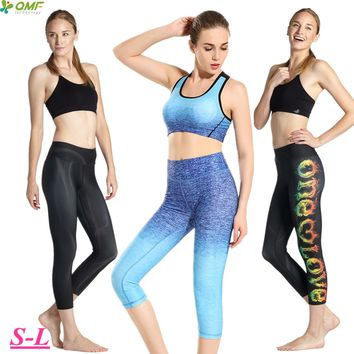 Sky Blue Compression Running Capris Leggings Elastic Black Dry Fit Yoga Fitness Workout Cropped Tights Women's Slim Fit Trousers
