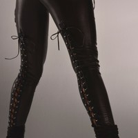 Back Lace Up Wet Look Leggings