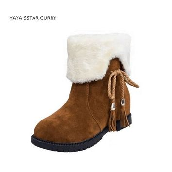 SSTAR 2018 winter new women cotton boots bow two wear low-heeled tube boots women plus cashmere warm snow walking shoes ug