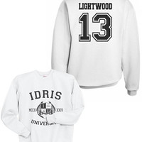 Lightwood 13 IDRIS University Shadowhunters The Mortal Instruments Unisex Crewneck Sweatshirt White