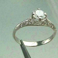 Art Nouveau 14K White Gold Filigree Antique Engagement Ring Setting with 5.5 mm (.63 Carats) Manmade Diamond