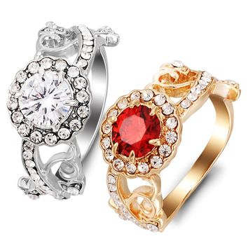 Engagement rings zircon ring for couple red stone Luxurious rings rose gold Original designs jewelry