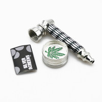 1 Set Smoking Pipe + Mini 2 Layer Metal Alloy Herb Grinder & Screen Tobacco Herbal Pipe YD088 Pollen Spice Crusher Smoking Pipe