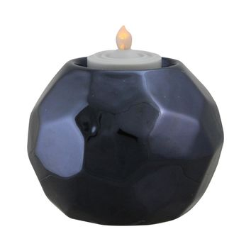 "3"" Navy Blue Geometric Ceramic Tea Light Candle Holder Decoration"