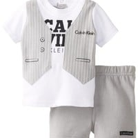 Calvin Klein Baby-Boys Newborn and Tee with Short Vest, Gray, 0-3 Months