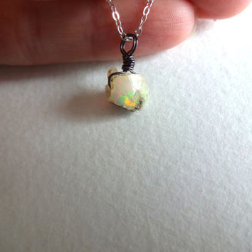 Wire Wrapped Rough Opal Pendant and 925 Sterling by KalosandCo
