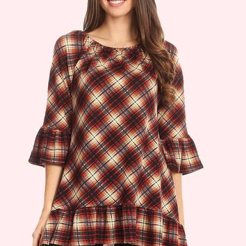Hi-Low Plaid Tunic - Wine