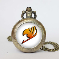 Handmade Fairy Tail Anime Emblem Logo  pocket watch locket necklace  Fairy Tail  vintage Pendant locket necklace